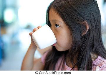 água, bebendo, criança, copo