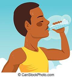 água, bebendo, desporto, homem