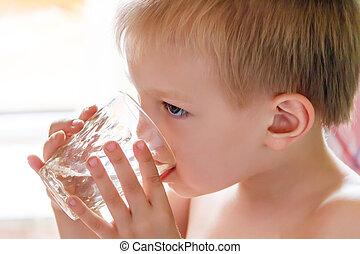 água, bebendo, loura, criança