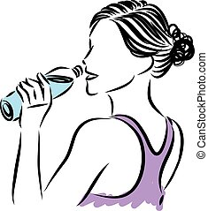 água, bebendo, mulher, garrafa, bonito