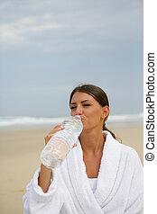 água, bebendo, mulher, garrafa