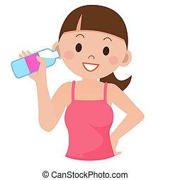 água, bebendo, mulher, jovem