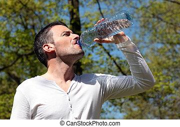 água, bebendo, parque