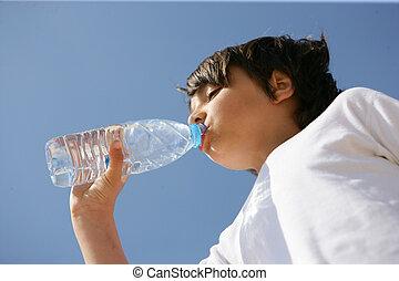 água, bebendo, refrescar, garrafa