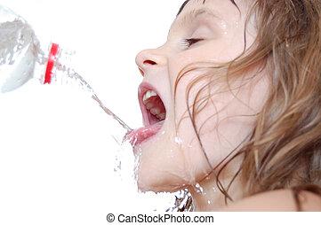 água, bebendo, sedento, criança