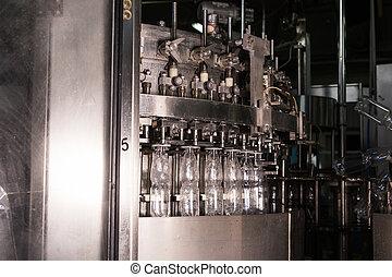 água bebida, linha produção, em, indústria