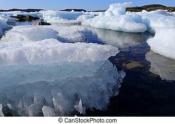 água, blueish, tração, gelo