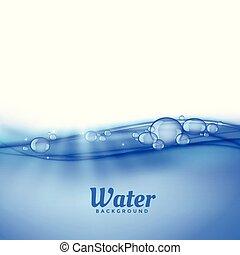 água, bolhas, fundo, sob