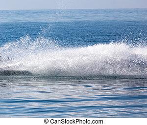 água, bote, superfície, traço