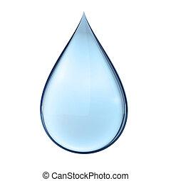 água, branca, gota, 3d