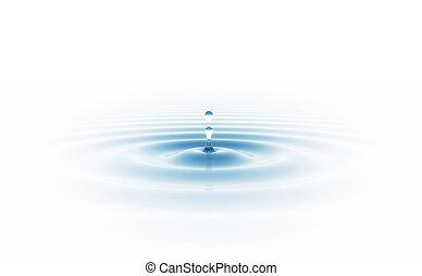 água, branca, gota, isolado