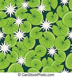 água branca, lírios, com, leaves., seamless, pattern.