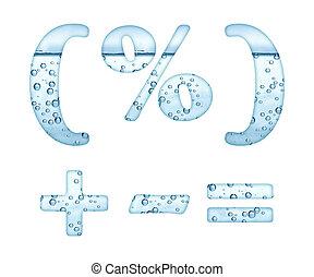 água, branca, mineral, caráteres