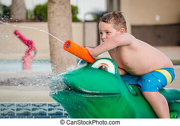 água, brinquedo, tocando, criança