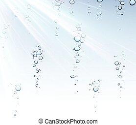 água, bubbles., fundo