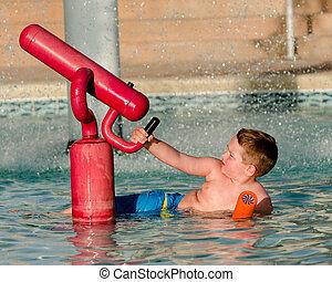 água, canhão, filho jogando