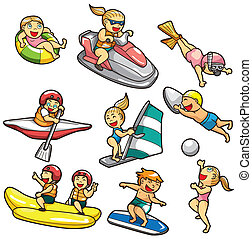 água, caricatura, ícone, desporto