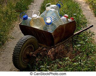 água, carruagem, garrafas