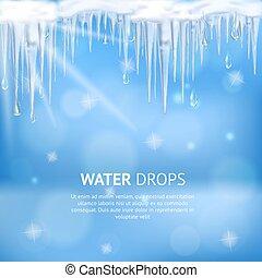 água, cartaz, abstratos, gotas