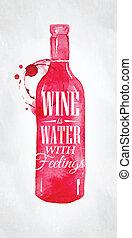água, cartaz, vinho, sentimentos