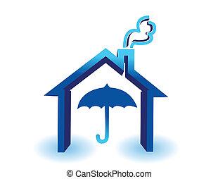 água, casa, proteção, conceito