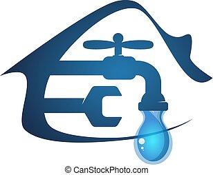 água, casa, torneira, gota