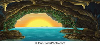 água, caverna
