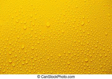 água chuva, fundo amarelo, gotas, ou