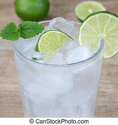 água cintilante, bebida, com, cubos gelo