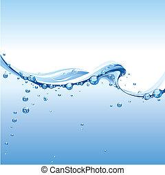 água clara, onda, com, bolhas
