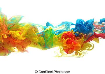 água, coloridos, tinta