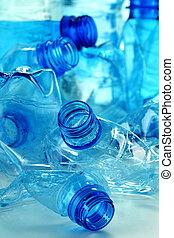 água, composição, garrafas, mineral, plástico