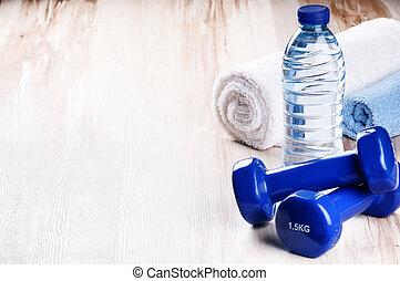 água, conceito, dumbbells, garrafa, condicão física