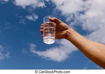 água, copo.