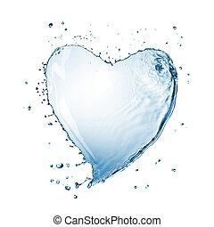 água, coração, branca, respingo, isolado