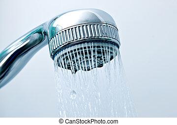 água corrente, de, a, chuveiro