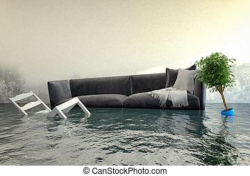 água, -, damager, render, 3d