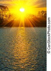 água, de, rio, em, pôr do sol, instagram, stile