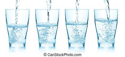 água, despejar, em, glasses., jogo, de, diferente, quadros