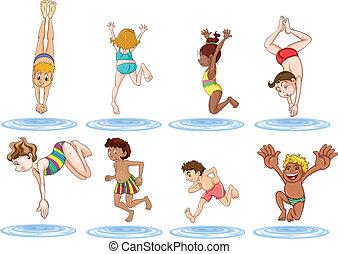 água, diferente, desfrutando, crianças