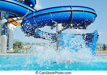 água, divertimento, escorregar, piscina exterior