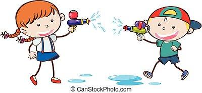água, doodle, crianças, tocando, arma