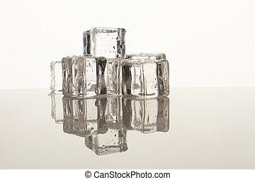 água, drops., cubos, gelo