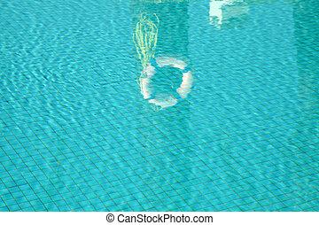 água, em, piscina