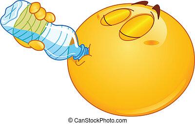 água, emoticon, bebendo