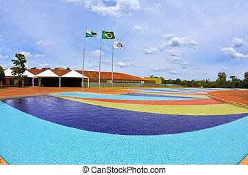 água, enorme, piscina
