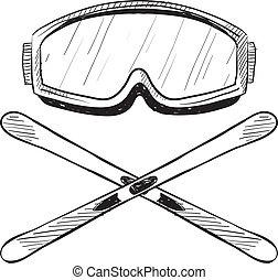 água, equipamento, esboço, esquiando