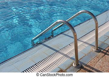 água, escada, natação-piscina