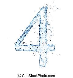 """água, esguichos, número, """"4"""", isolado, branco, fundo"""