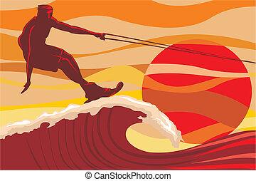 água esquiando, -, onda
